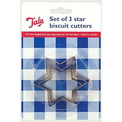 Tala 3 Pl.star Cutters 12/288 - Star Set Biscuit Steel Stainless Icing Pastry