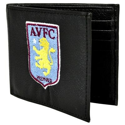 Aston Villa F.c. Embroidered Wallet - Leather Crest Fc Football Gift 7000
