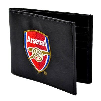 Arsenal Embroidered Black Leather Wallet - Football Fc Club Crest Official 7000