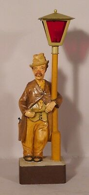 VINTAGE German CARVED WOOD WHISTLER Music Box Man & Lamp Pole GREISBAUM STYLE