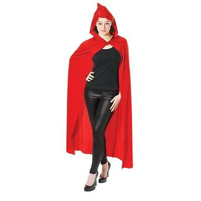 Red Adult's Long Hooded Cape - Fancy Dress Halloween Vampire Adult Costume