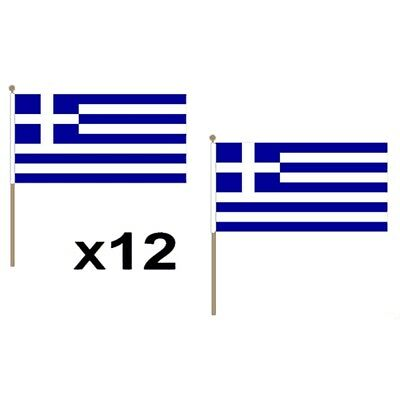 Greece Small 9x6 Hand Flags- 12 Pack