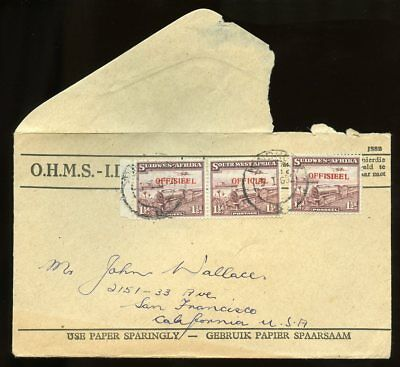 SOUTH WEST AFRICA 1 ½d Pair + One, Official Stamps used on Cover to USA 1952