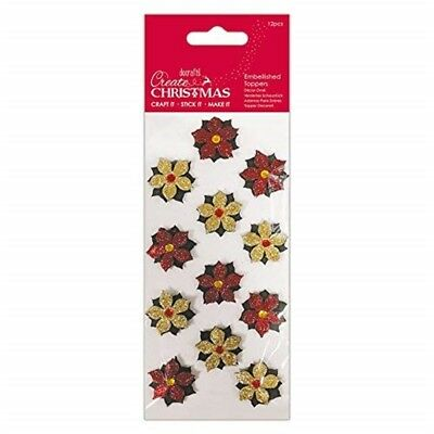Create Christmas Christmas Embellished Toppers-set Of 12 Pieces, Red/gold, One