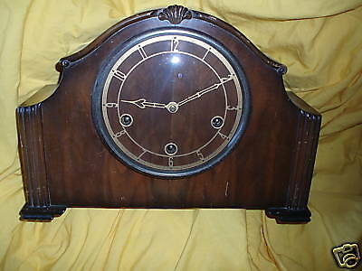 Mantle Clock Vintage Enfield & Smith wood art deco style -real wood!