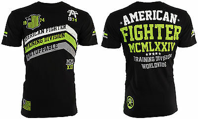 AMERICAN FIGHTER Mens T-Shirt CORNER Athletic BLACK GREEN Biker Gym MMA UFC $40