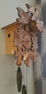 German 2 Weights Driven Carved Wood Case Cuckoo clock