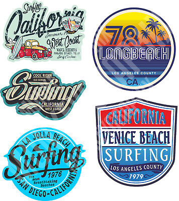 5er Oldschool Aufkleber Sticker Set Surfer Beach California USA Autoaufkleber