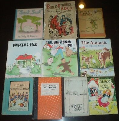 Lot of 10, VINTAGE ILLUSTRATED CHILDREN'S BOOKS FROM THE EARLY 1900's