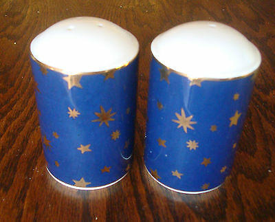 dinnerware Sakura blue Galaxy 14K gold stars salt and pepper shakers