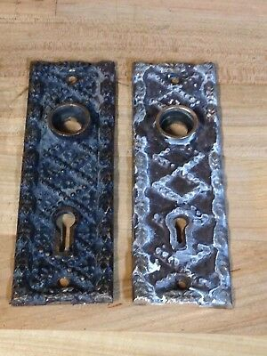 2 Antique Vintage Cast Bronze Art Nouveau Door Knob Lock Key Hole Plate Parts
