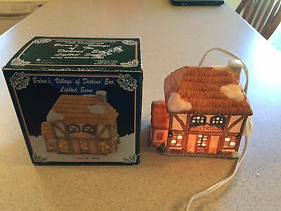 Vintage 1990 Brinn's Dickens Era Lighted Christmas House Poultry Shop w Box !