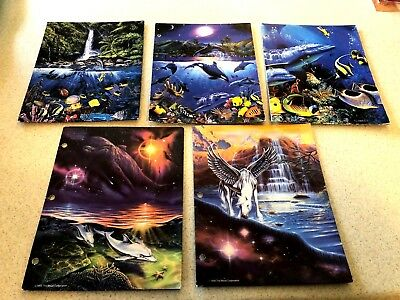Lot of 5 Vintage Folders Fantasy and Christian Lassen Trapper Keeper Oldies