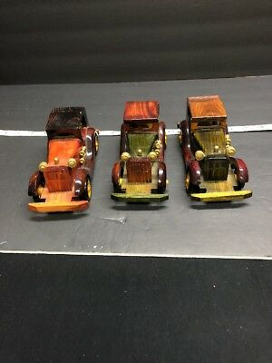 3 Vintage Handmade Old Model Wooden Car~Handcrafted Antique Classical Car Toy.