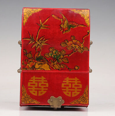 High-Class Wood Leather Jewelry Box Old Doubledeck Dowries Contain Mirror Mascot