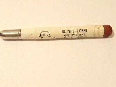 Vintage bullet pencil advertising Ralph S. Layser quality chicks, Richland, PA