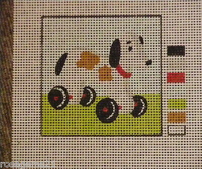 UNSTITCHED TAPESTRY/NEEDLEPOINT ~ Dog on Wheels by Collection DArt (New)