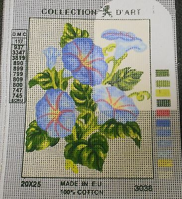 BLUE FLOWERS WITH PINK STRIPE - Tapestry to Stitch (NEW) by Collection D'Art