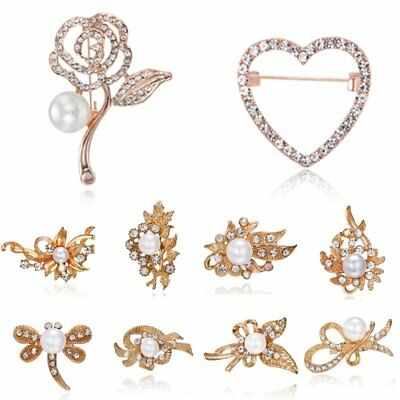 Rose Flower Hollow Butterfly Bouquet Wedding Bridal Brooch Pin Costume Jewelry
