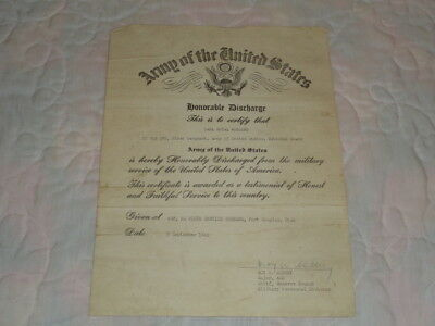 1945 U.S. Army Honorable Discharge Certificate 1st Sgt. Fort Douglas Utah WW2
