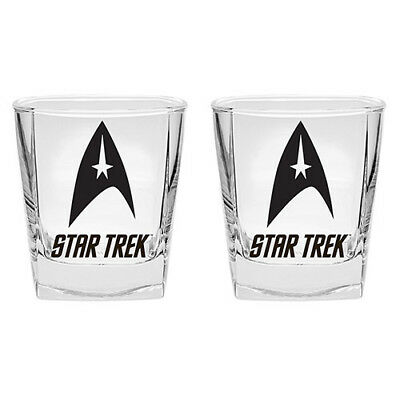 Star Trek Set of 2 Glass 285ml Spirit Glasses Man Cave Birthday Bar Gift
