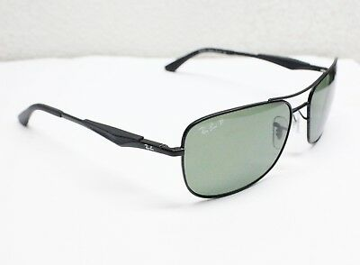 1349051280 USED RAY-BAN Sunglasses Matte Black Green POLARIZED RB3515 006 9A ...