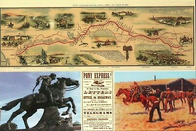 Pony Express Route Map Statue Advertisement etc., Horse, Mail Service - Postcard