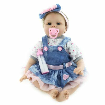 Nicery Reborn Baby Doll Soft Silicone Girl Toy 22in. 55cm Blue Dress Lucy HOT FK