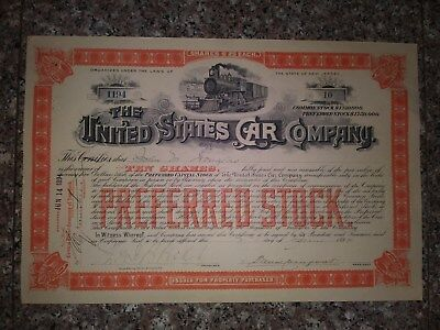 Uncancelled 1894 United States Car Company Stock Certificate
