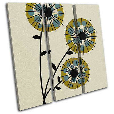 Vintage Abstract Flower Floral TREBLE CANVAS WALL ART Picture Print