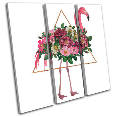Floral Flamingo Geometric Animals TREBLE CANVAS WALL ART Picture Print