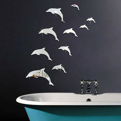 3D Self-Adhesive Dolphin Acrylic Wall Stickers Decals Room Decor LG