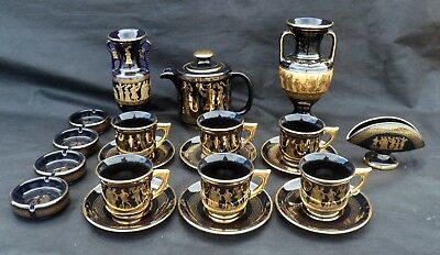 20-Piece Hand-Made Greek Tea/Coffee Set, Black and Gold, Classical Scenes, Key