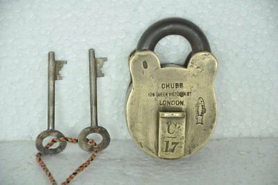 Old Brass Solid Chubb's Fish Monogram Engraved Handcrafted 2 Key Padlock,London