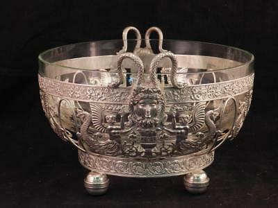 Antique 19C German Silver Bowl~Aesthetic Period~Medusa~Sirens~Johann S.Kurtz Co.