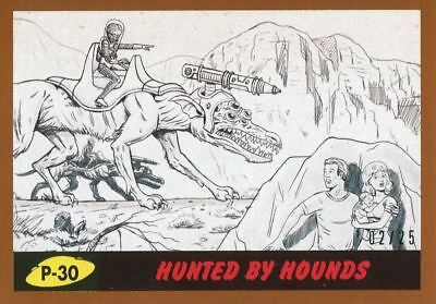 Mars Attacks The Revenge Bronze [25] Pencil Art Base Card P-30 Hunted by Hounds