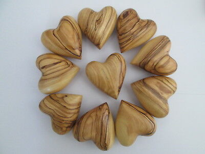Genuine Bethlehem Olive Wood Handmade/ Hand Carved Hearts. Choose Qty& Size.gift