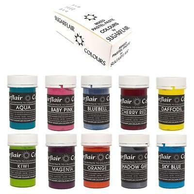Sugarflair Concentrated Food Colours - Mixed Set OF 10 Pastel Pastes For Cakes
