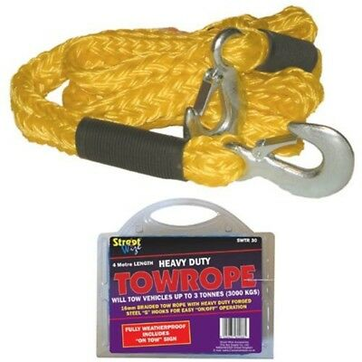 Streetwize Swtr30 Hd Braided Tow Rope With 2 Metal S Hooks 3 T - Yellow - Tonne