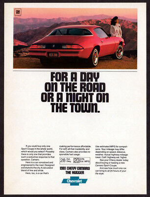 1981 CHEVROLET Camaro Sport Coupe Vintage Original Print AD Red muscle car photo