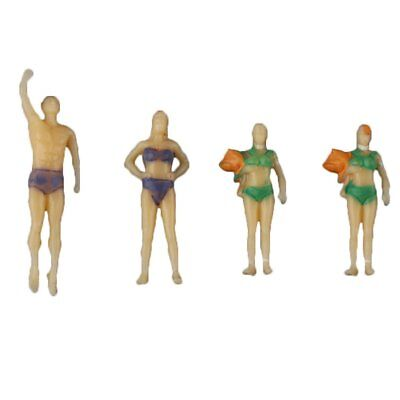 20pc Mixed 1:75 Painted Model Beach Swimmer People Figures Train Buildings Scene