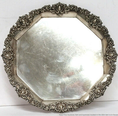 Theodore B Starr Antique Sterling Silver Repousse Large Octagonal Serving Dish