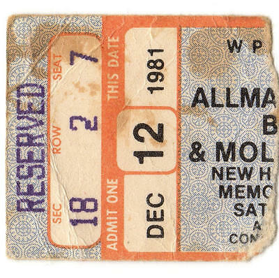 ALLMAN BROTHERS & MOLLY HATCHET & PETER ROWAN Concert Ticket Stub 1981 NEW HAVEN