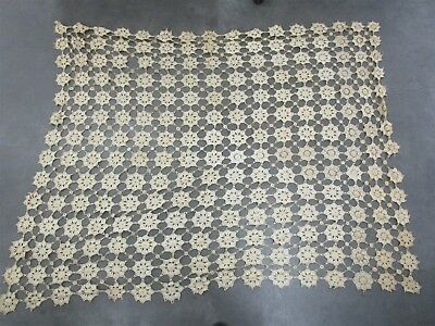 Antique Finely Knitted Lace Throw Blanket Coverlet