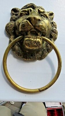 "Front Door Knocker Lion Head Vintage Brass Huge 10"" by 5 1/2"""