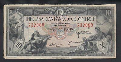 1935 Canada Commerce 10 Dollars Chartered Bank Note