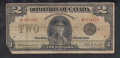 1923 Dominion Of Canada 2 Dollars Bank Note