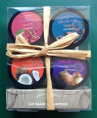 Natural Extracts Lip Balm Collection 4 Cherry Argan Oil Coconut Shea Butter New
