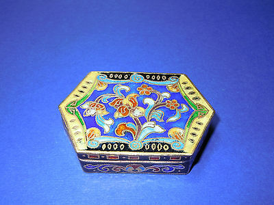 Antique Floral Blue Green & Yellow Filigree Cloisonne 6 Sided Trinket Gift  Box