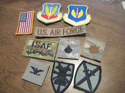 Lot of 10 Velcro US Military Patches..Iraq..Air Force..Colonel & Major Rank